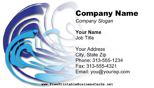 Abstract Blue Swirl business card