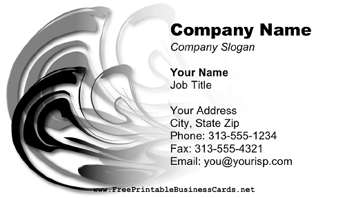 Abstract Gray Swirl business card
