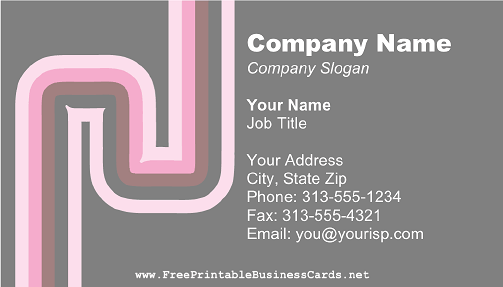 Gray and Pink Curves business card