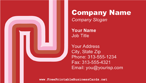 Red and Pink Curves business card