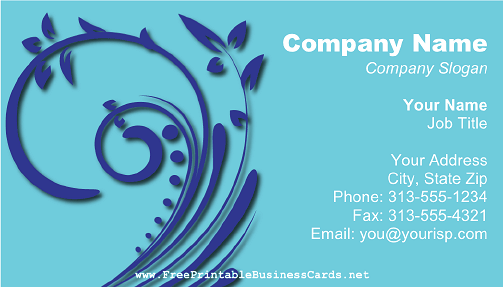 Blue Floral Swirl business card