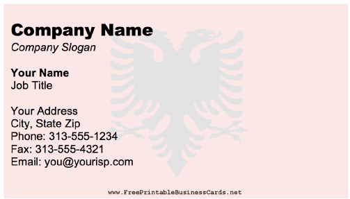 Albania Business Card business card