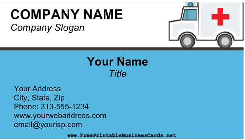 Ambulance business card
