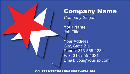 Red White and Blue Stars business card