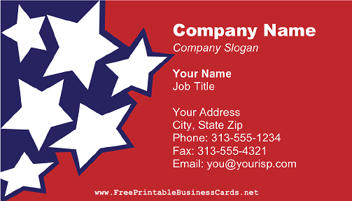 Blue and White Stars on Red business card