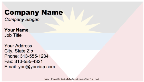 Antigua And Barbuda Business Card business card