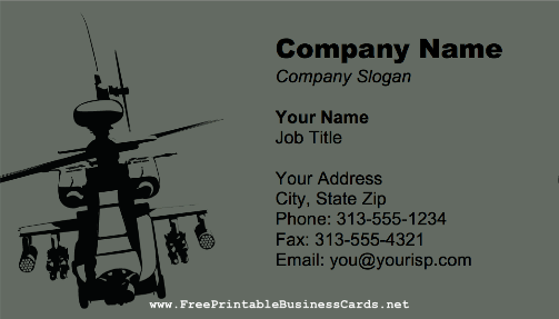 Apache Helicopter business card
