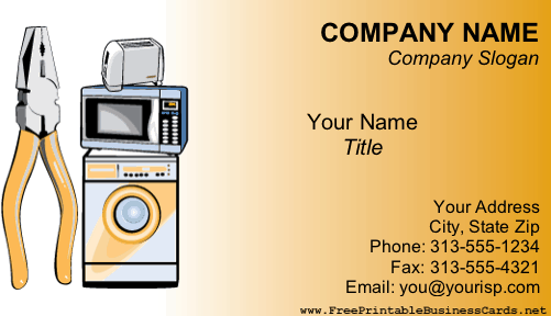 Appliance Repair business card
