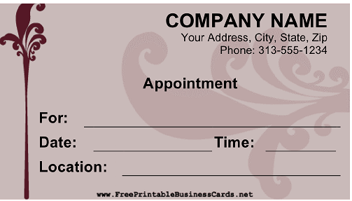 Appointment Fancy business card