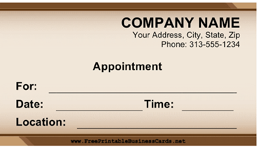 Appointment Professional business card