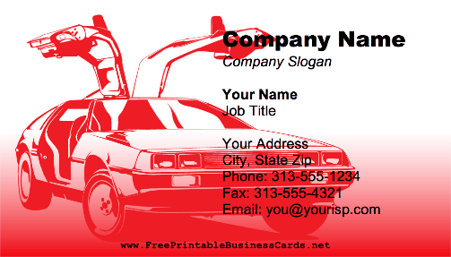 Red Automotive business card