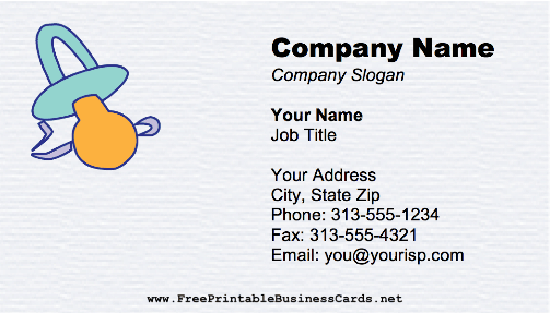 Babysitter - Pacifier business card