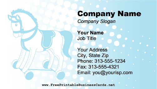 Babysitter - Rolling Horse Toy business card
