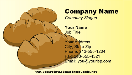 Bakery Bread Loaves business card