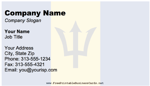 Barbados business card