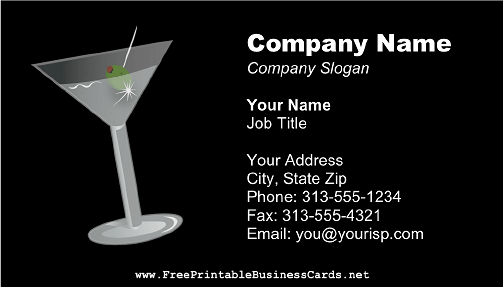 Bartender Martini Glass business card