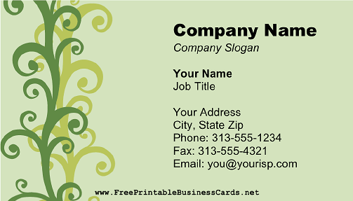 Green Swirls business card