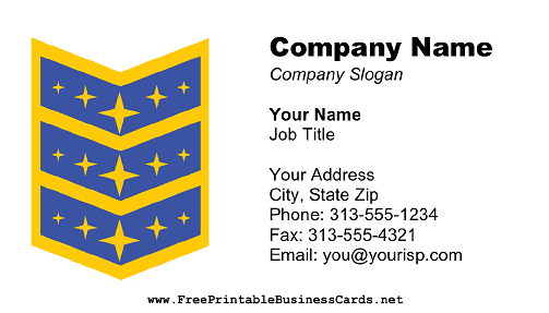 Star Award business card