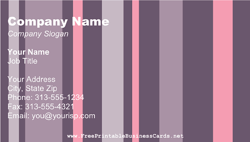 Pink and Purple Stripes business card