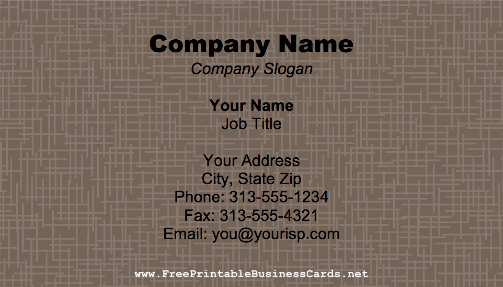 Basketweave business card