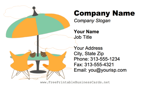 Beach furniture business card