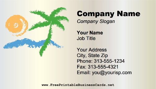 Beach Palm Tree business card
