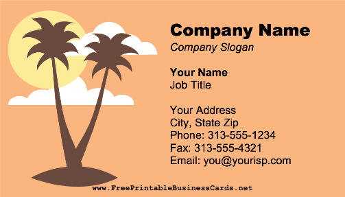 Beach Palm Trees business card