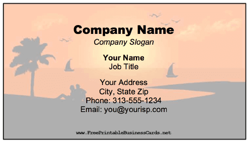 Beach Sunset Business Card business card