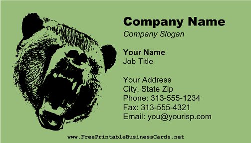 Wild Bear Green business card