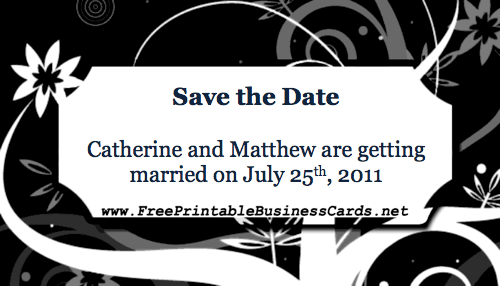 Black Save the Date Card business card