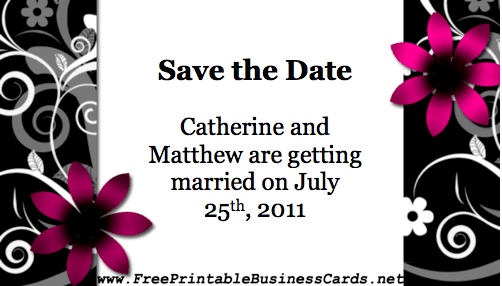 Black and White Save the Date Card business card