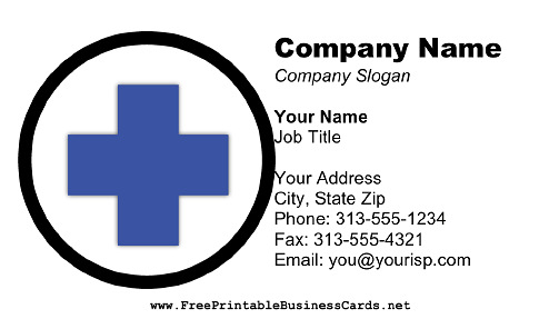 Blue Cross business card