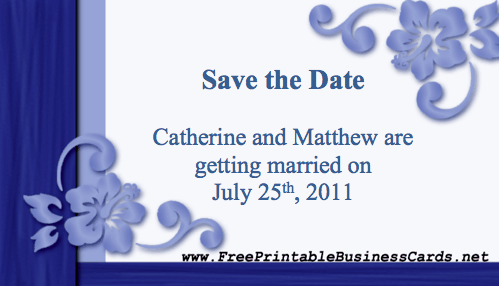 Blue Save the Date Card business card