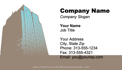Skyscraper business card