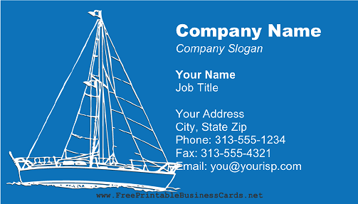 Fishing Boat on Blue business card