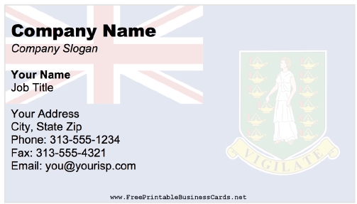 British Virgin Islands Business Card business card