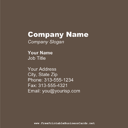 Dark Brown Square business card