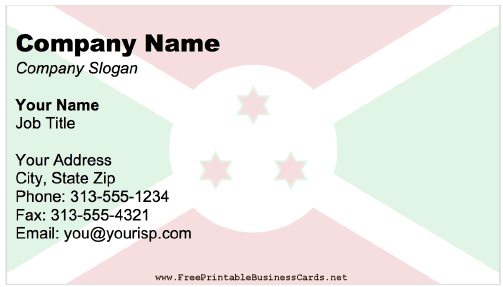 Burundi Business Card business card