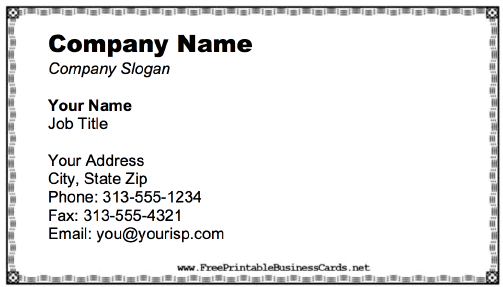 Business Card With Black And White Border business card