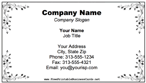 Business Card With Flourish Border business card