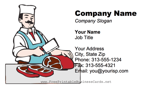 Butcher business card