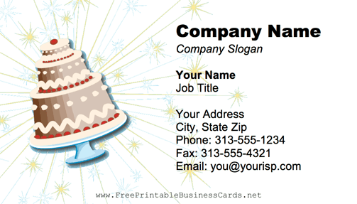 Sparkly Cake business card