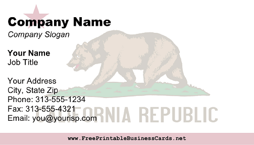 California Flag business card