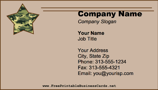 Camouflage Star business card