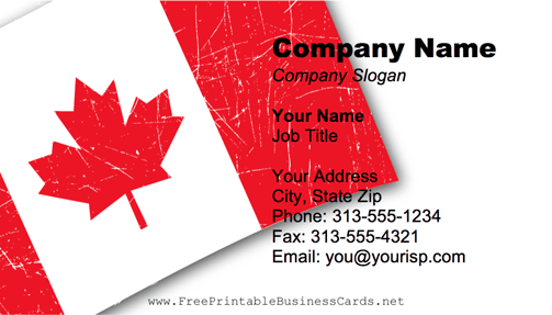 Canadian Flag business card