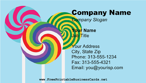 Lollipop business card