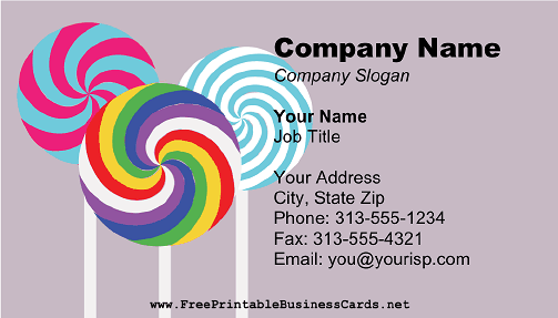 Lollipops business card