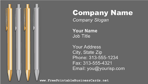 Silver and Gold Pens business card