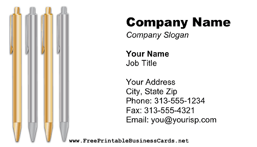 Executive Pens business card