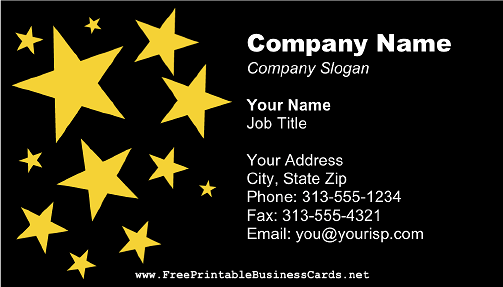 Midnight Stars business card